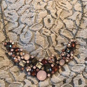 Pink and Silver Statement Jewel Necklace